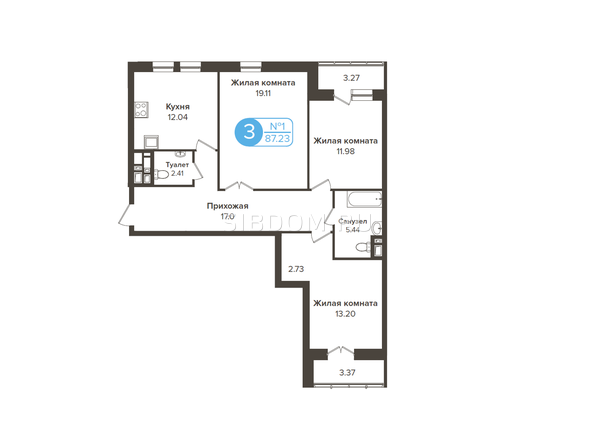 Планировки Жилой комплекс ОГНИ СИБИРИ, дом 2 - 3-комнатная 87,23 кв.м