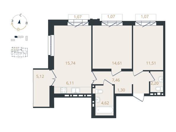 3-комнатная 63,55 кв.м