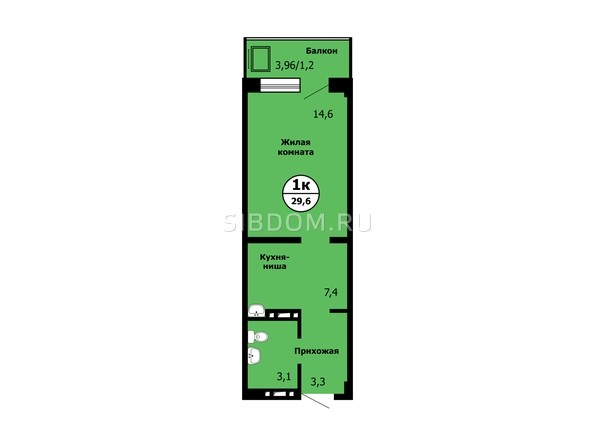 Планировка 1-комн 29,5 - 29,7 м²