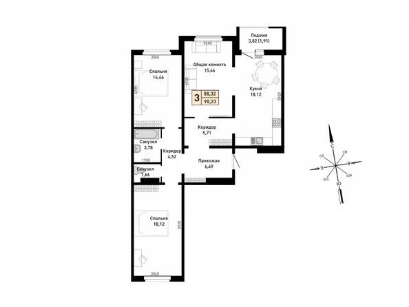 3-комнатная 88.32; 90.23 кв.м