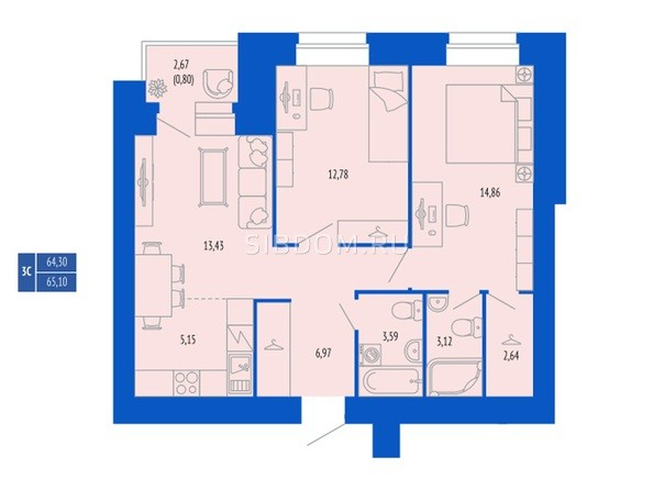 3-комнатная 65.1; 65.13 кв.м