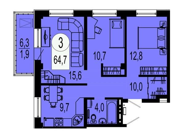 Планировка трехкомнатной квартиры 64,7 кв.м