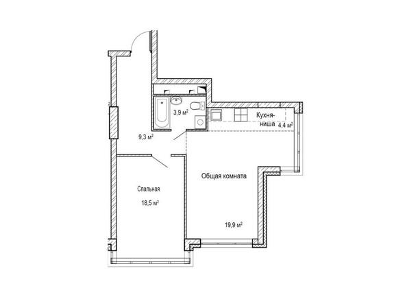 Планировки Жилой комплекс ЮЖНЫЙ, дом «Бирюзовый» - Планировка двухкомнатной квартиры 54,1 кв.м