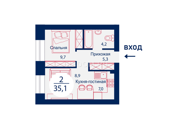 Планировка двухкомнатной квартиры 35,1 кв.м