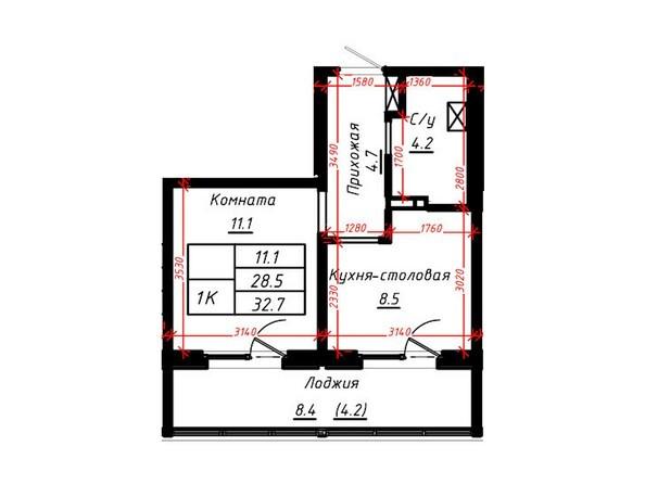 1-комнатная 32,7 кв.м