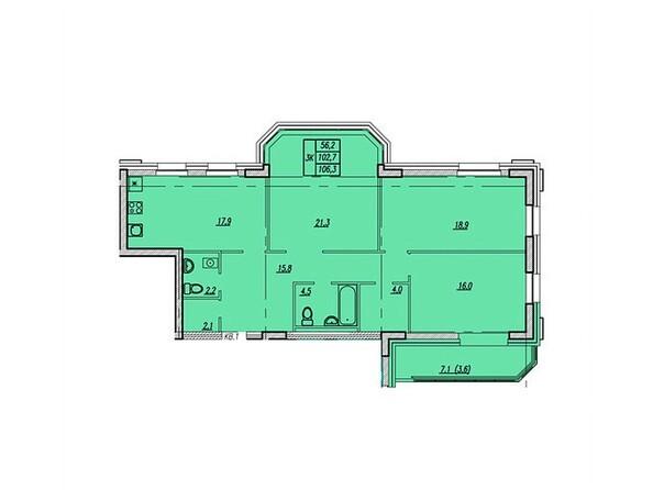 Планировки Жилой комплекс НОВАЯ ВЫСОТА, дом 1 - Планировка трёхкомнатной квартиры 106,3 кв.м
