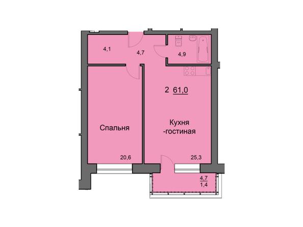 Планировки Жилой комплекс SKY SEVEN, б/с 7, 2 оч - Планировка двухкомнатной квартиры 61,2 кв.м