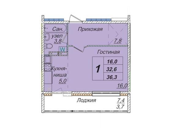Планировки Жилой комплекс КЕМЕРОВО-СИТИ, дом 7б  - Планировка однокомнатной квартиры 36,3 кв.м