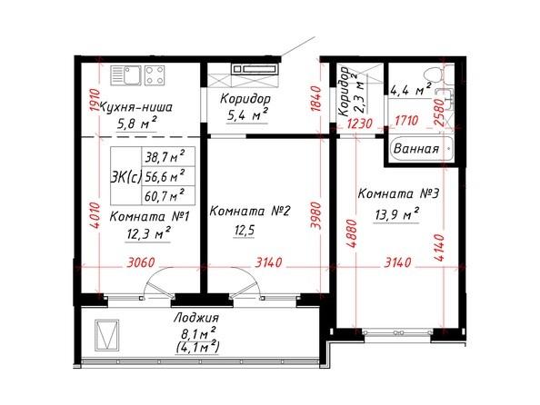 Планировка 3-комн 60,7 м²