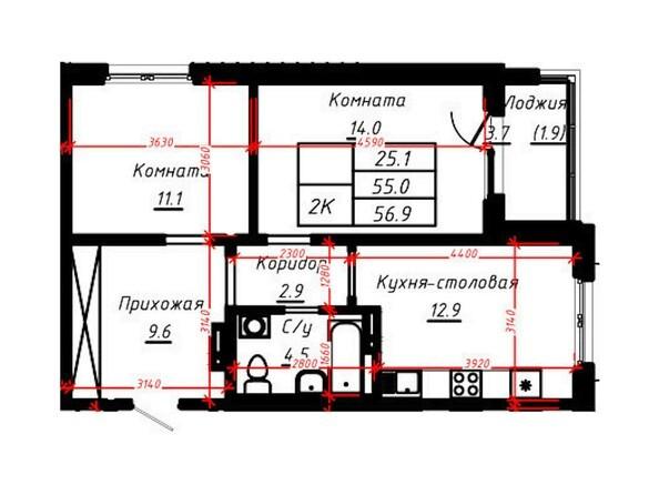 2-комнатная 56,9 кв.м
