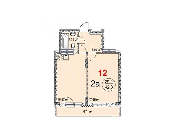 Планировки Жилой комплекс ТИХИЙ БЕРЕГ, дом 2 - Планировка двухкомнатной квартиры 42,3 кв.м