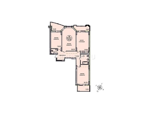 Планировки Жилой комплекс ЗАЕЛЬЦОВСКИЙ, 1 этап - Планировка трехкомнатной квартиры 99,83 кв.м