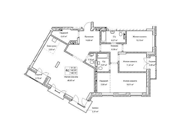 Планировки Жилой комплекс ГУДИМОВ - Планировка четырехкомнатной квартиры 142,2 кв.м