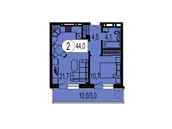 Планировка двухкомнатной квартиры 44,0 кв.м