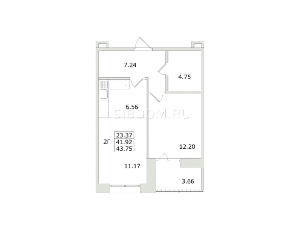 2-комнатная 43,75 кв.м