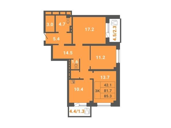 3-комнатная 85,3 кв.м