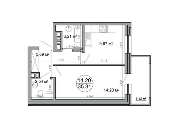 Планировка 1-комн 40,43 м²