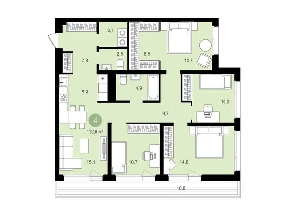 Планировка 4-комн 112,5 - 112,56 м²