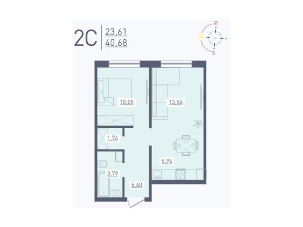 Планировка 2-комн 40,68 м²