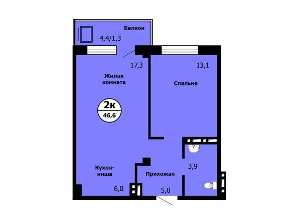 Планировка 2-комн 46,6 - 46,8 м²