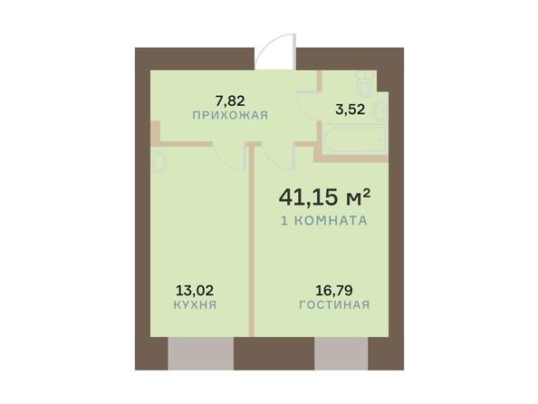 Планировка 1-комн 41,15 м²