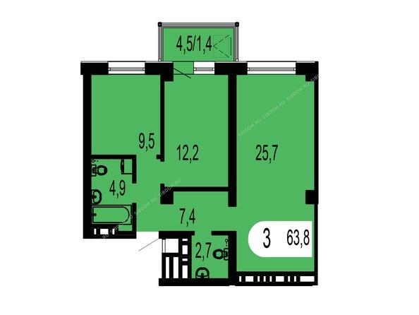 Планировки Жилой комплекс ТИХИЕ ЗОРИ, дом 1 (Красстрой) - Планировка трехкомнатной квартиры 63,8 кв.м