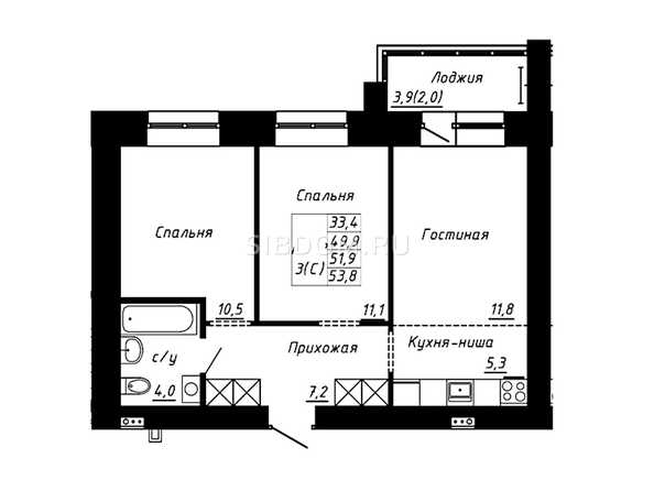 Планировка 3-комн 53,8 м²