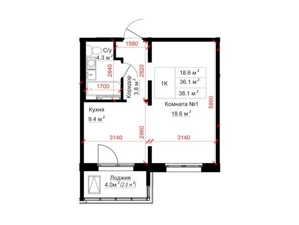 Планировки ТИТАН - Планировка однокомнатной квартиры 38,1 кв.м