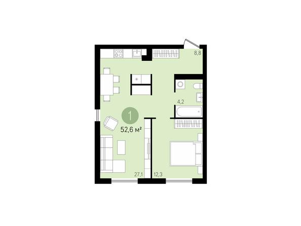 1-комнатная 52,6 кв.м