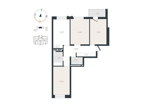 3-комнатная 79,69 кв.м