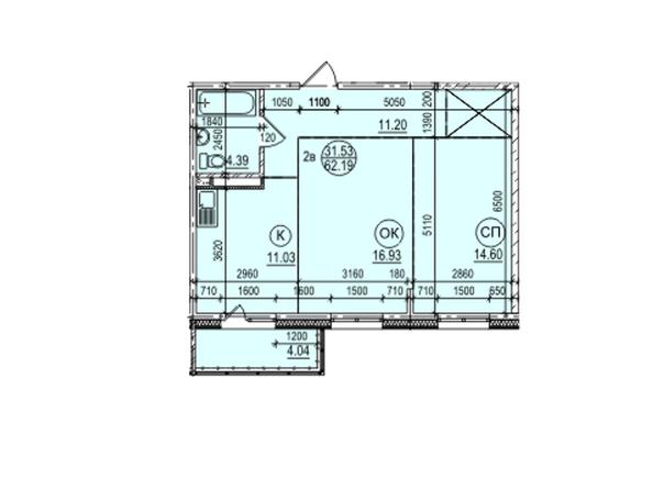 Планировка 2-комн 62,19 м²