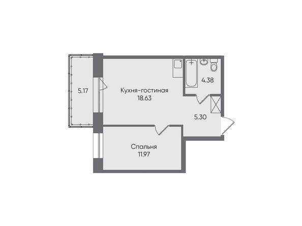 Планировки Жилой комплекс НОВЫЕ ГОРИЗОНТЫ, б/с 1 - Планировка двухкомнатной квартиры 45,45 кв.м
