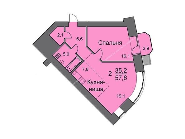 Планировки Жилой комплекс LINER Лайнер - Планировка двухкомнатной квартиры 58 кв.м