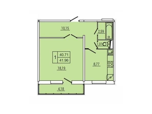Планировка 1-комн 41,96 м²