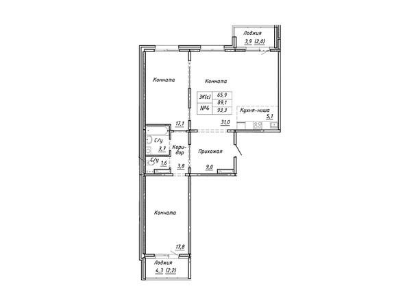 Планировка 3-комн 93,3 м²