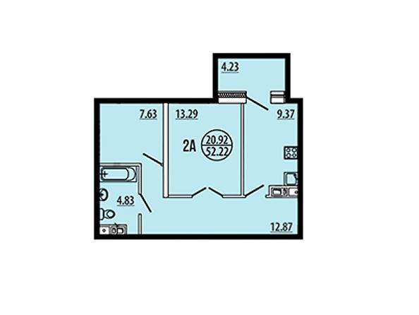 Планировки Жилой комплекс ЭВОЛЮЦИЯ, 2 оч, б/с 4-8,9,10 - Планировка двухкомнатной квартиры 52,22 кв.м