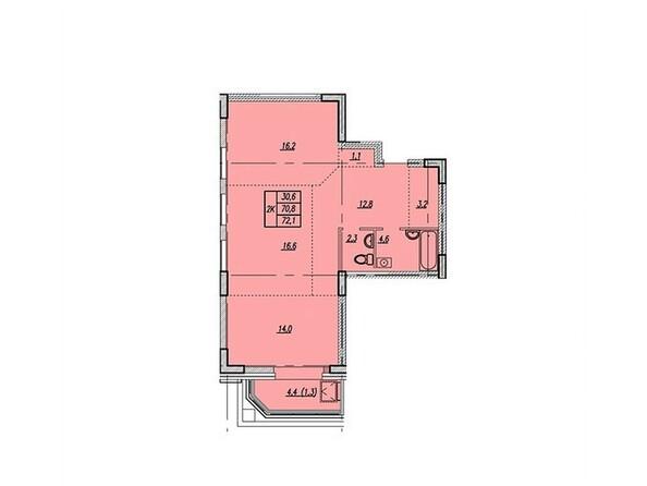 Планировки Жилой комплекс НОВАЯ ВЫСОТА, дом 1 - Планировка двухкомнатной квартиры 72,1 кв.м