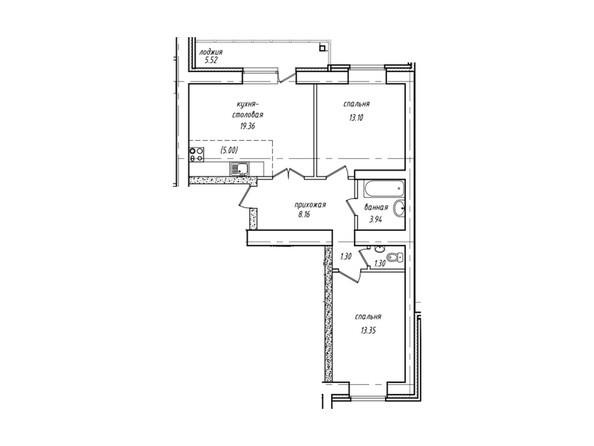 Планировки Жилой комплекс НЕВСКИЙ 2 КВР, 7 дом - Планировка двухкомнатной квартиры («евротрёшка») 63,27 кв.м
