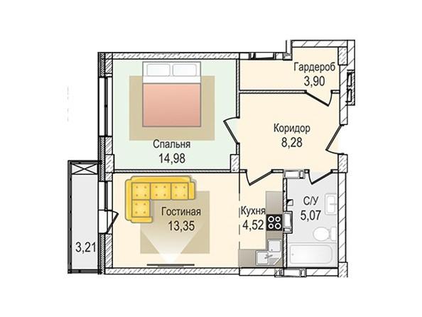 Планировки Жилой комплекс КрымSky, дом 8 - 2-комнатная 50,1 кв.м