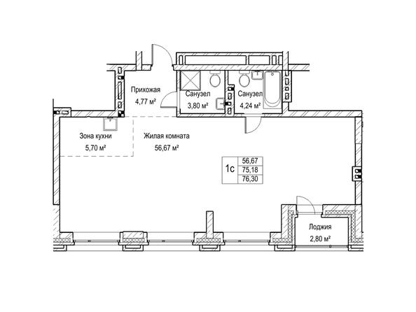 Планировки Жилой комплекс ЯДРИНЦЕВСКИЙ КВАРТАЛ - 1-комнатная студия 75,1 кв.м. Блок-секция 3