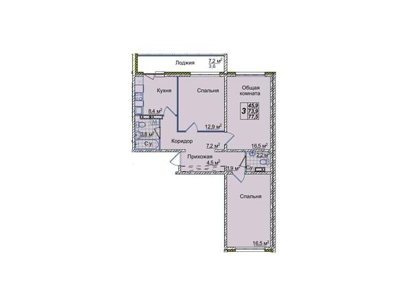 Планировки Жилой комплекс ЮНОСТЬ, дом 1/1 - 3-комнатная 77,5 кв.м