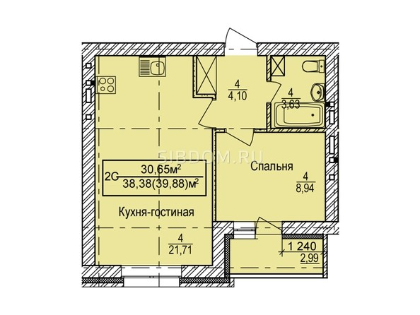 Планировка 2-комн 39,88 м²