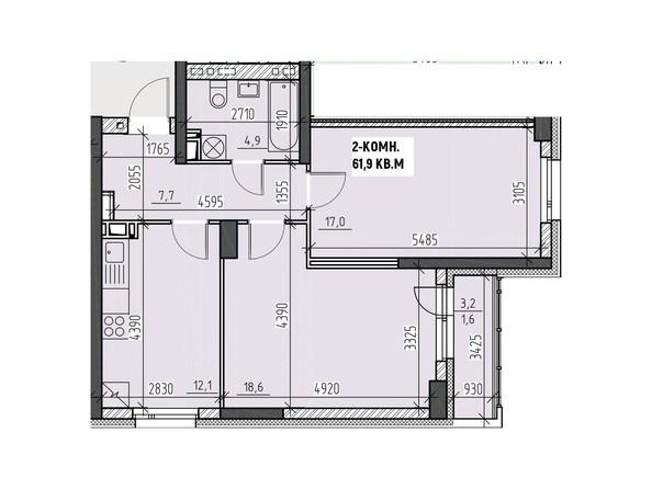 Планировки Жилой комплекс НА ВЫСОТЕ, 2 этап - Планировка двухкомнатной квартиры 61,9 кв.м