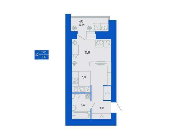 1-комнатная 31.47 кв.м