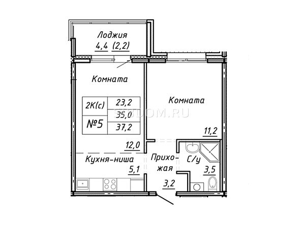 Планировка 1-комн 37,2 м²