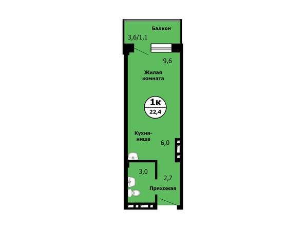 Планировка Студия 22,3 - 22,7 м²