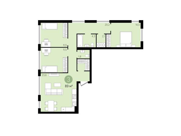 3-комнатная 89 кв.м