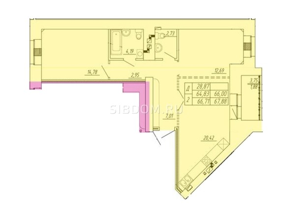 Планировка 2-комн 64,83 - 67,88 м²