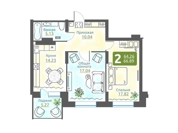 Планировка 2-комн 66,89 м²