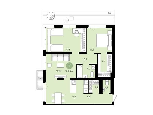 Планировка 3-комн 101,5 м²